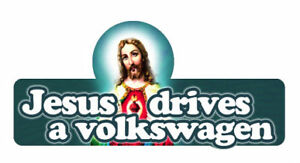 JESUS-DRIVES-A-VW-BUMPER-STICKER-DECAL-volkswagen-150mm