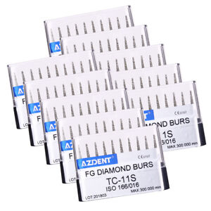 10-SETS-Dental-Diamond-Burs-Tips-For-High-Speed-Handpiece-TC-11S-AZDENT