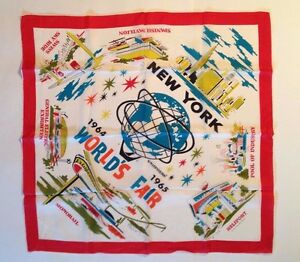 1964-65-NY-World-039-s-Fair-Official-Silk-Scarf-Unisphere-GE-Monorail-Heliport