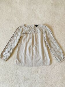 J-Crew-Women-s-Eyelet-Top-Linen-cotton-In-Flax-Tan-Size-6-Tall-New