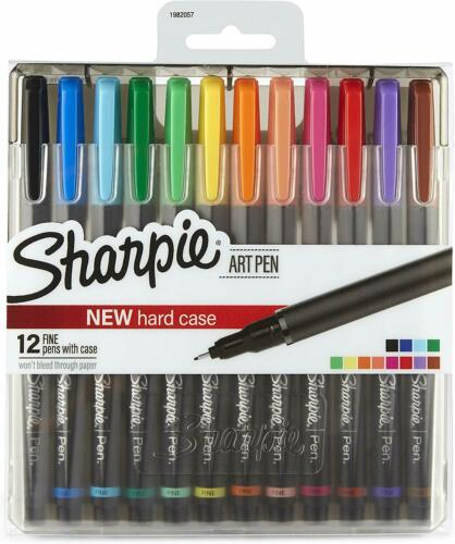 12 Pack Art Pens Fine Point Assorted Colors Hard Case Bleed Free Water Resistant