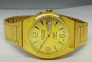 CITIZEN-AUTOMATIC-MEN-S-GOLD-PLATED-DAY-DATE-GOLD-DIAL-WRIST-WATCH