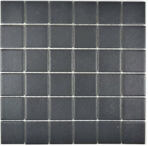 Mosaïque carreau céramique noir cuisine mur sol bain 14-0311-R10_f ...