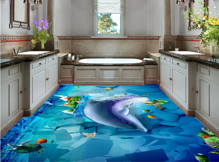 3D Cute Dolphin Stone 4 Floor WallPaper Murals Wall Print Decal AJ WALLPAPER US