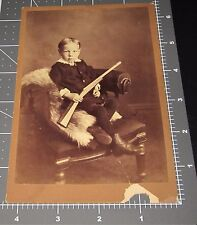 Unique 1890's Young Boy with WOODEN TOY RIFLE Gun Bear Skin Antique PHOTO
