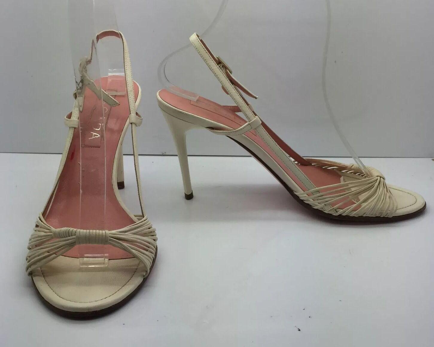 ESCADA Tan Cream Strappy Strappy Strappy Leather Sling Back Open Toe High Heels Sz 6 36.5  84fefd