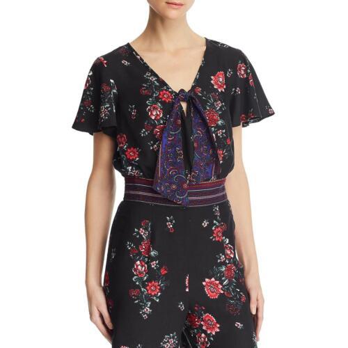 Band of Gypsies Womens Cambridge Smocked Floral Print Crop Top Shirt BHFO 1419