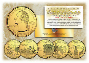 2000-US-Statehood-Quarters-24K-GOLD-PLATED-5-Coin-Complete-Set-w-Capsules