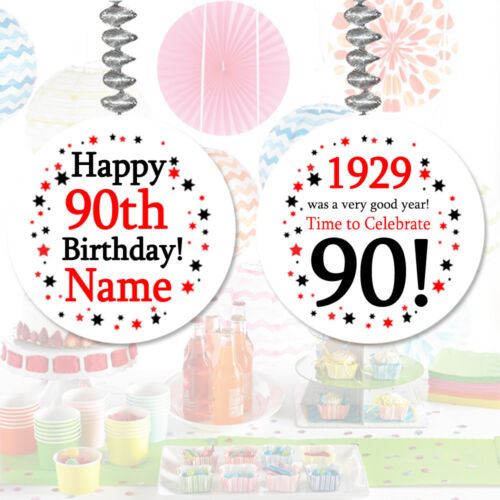 "/""1929/"" Party PERSONALIZED DANGLER DECORATIONS Age 90 Happy 90th Birthday"