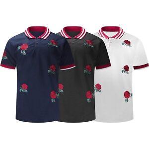 5be4c2f7 New Men Flower Roses Polo T-Shirt Collar Tee Black White Blue Thorns ...