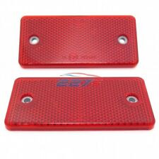 2x Red Rectangular Reflectors, Screw Mount, 94mm x 44mm- Gates Caravan Trailer