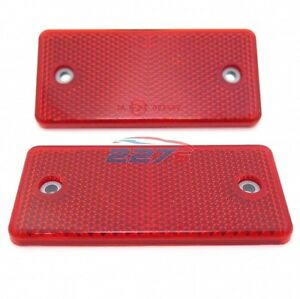 Screw Mount 2x Red Rectangular Reflectors Gates Caravan Trailer 94mm x 44mm