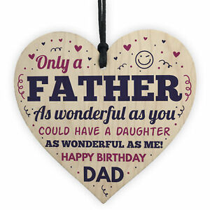 Image Is Loading Dad Birthday Gifts From Daughter Wooden Heart Funny