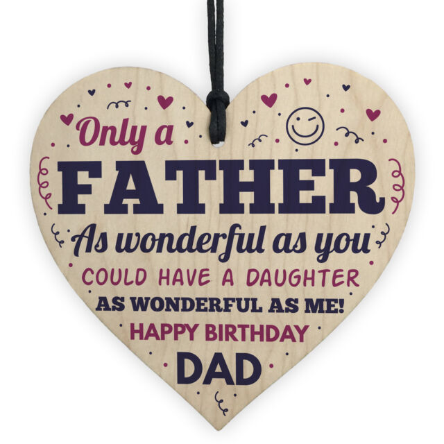 Dad Birthday Gifts From Daughter Wooden Heart Funny Novelty Gift For Him