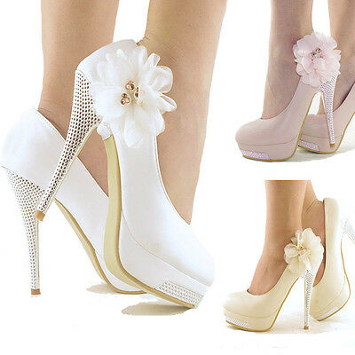 Sexy Weeding  Party Lace Ankle Flowers Platform High Heels Wedding Bridal Shoes