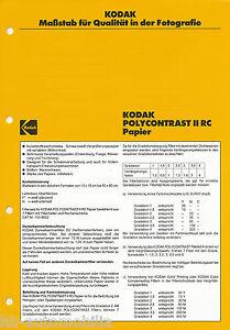 2019 Neuestes Design Prospekt Technische Information 6/84 Kodak Polycontrast Ii Rc Papier Amerika Usa
