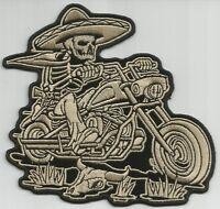 Mexicali Biker Skeleton W/ Sombrero Motorcycle Jacket Vest Biker Patch