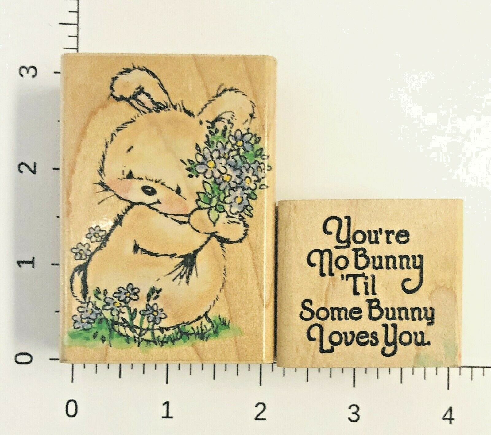 Bunny I Love You A Whole Bunch Stamp Used Vintage Rubber Stamp