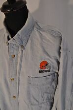 Vintage Lee sport Browns blue denim western shirt size XL cowboy football
