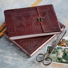 Indra Fair Trade Handmade Medium Embossed Leather Photo Album Scrapbook