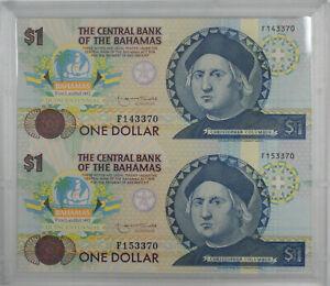 1992-Central-Bank-of-Bahamas-Quincentennial-1-Uncut-Sheet-Two-Crisp-Notes