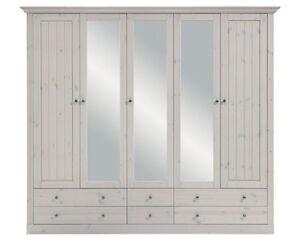 Steens Massivholz Kleiderschrank 5 Trg Monaco Landhausstil White