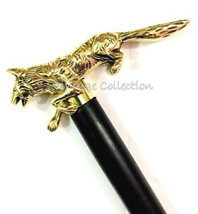 New Vintage Brass Wolf Handle Walking Stick Antique Style Wooden Shaft Canes