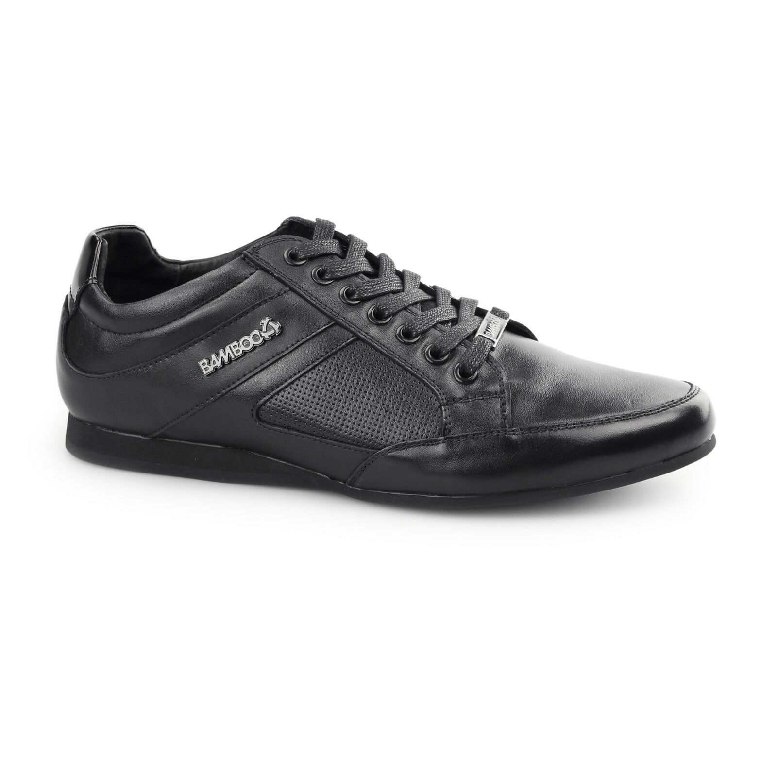BambooA TRENTO Mens Shine Leather Lace Up Casual Comfort Trainers shoes Black