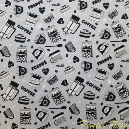 Sewing craft quilting Grey Novelty Coffee Frappe printed 100/% Cotton Fabric