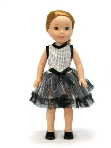 "Silver Sequin Tutu Dress Fits Wellie Wisher 14.5/"" American Girl Clothes"