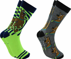 Hyp-Scooby-Doo-Faces-Men-039-s-Crew-Socks-2-Pair-Pack-Shoe-Size-6-12