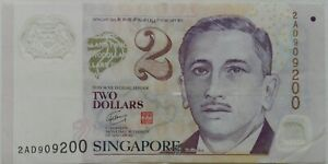 Singapore $2 Polymer Note 2AD 909200