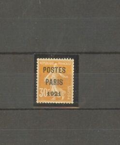 FRANCE-STAMP-TIMBRE-PREOBLITERE-29-034-SEMEUSE-30c-PARIS-1921-034-NEUFxxTTB-SIGNE-H824