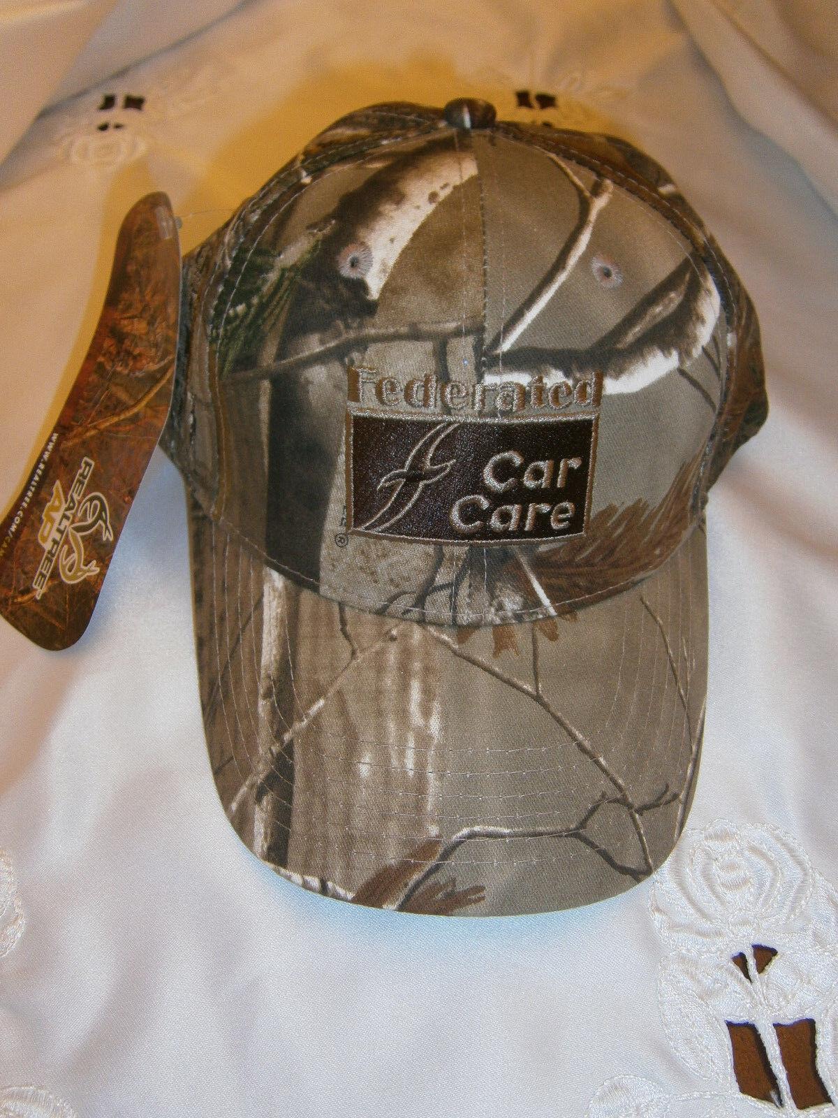 REALTREE HAT CAMO FEDERATED CAR CARE MENS HAT REALTREE BASEBALL CAP HUNTING MOTIF 68a2ad