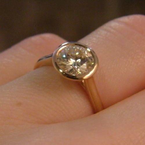 2.00Ct Round Cut VVS1 Moissanite Bezel Set Engagement Ring Solid 14K Yellow gold