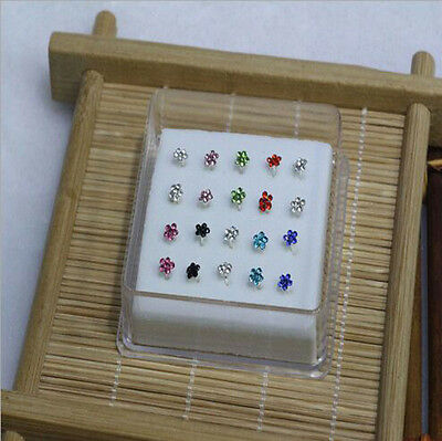 Wholesale 20PC Solid Silver White Plum flower Crystal Straight Bar Rod Nose Stud