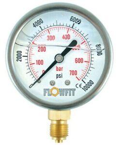 100mm-Rempli-de-Glycerine-Hydraulique-Pression-Jauge-0-4000-Psi-275-BAR-1-2-034