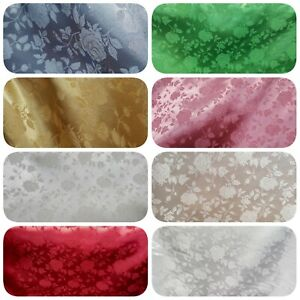 Rose-Brocade-Jacquard-Fabric-60-034-Reversible-BRIDAL-Floral-Satin-Design-8-Colors