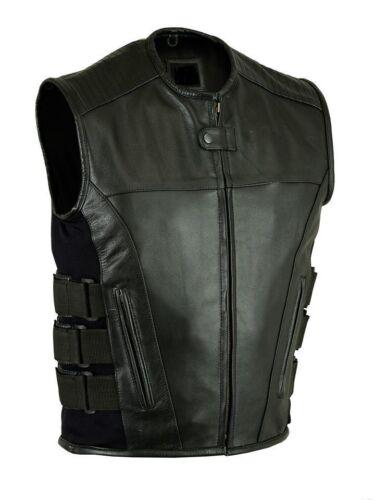 Men/'s Biker Updated SWAT Team Style Leather Motorcycle Vest NEW WITH ELASTICS
