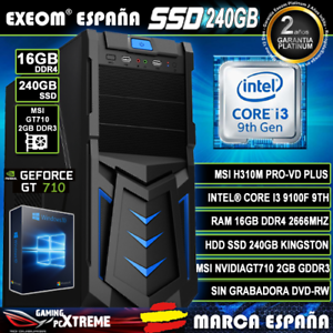 Ordenador-Gaming-Pc-Intel-I3-9100F-16GB-DDR4-SSD240GB-MSI-GT710-2GB-Windows