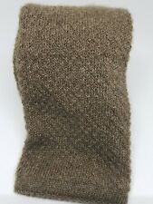 LUXURIOUS MADE IN ITALY 100% CASHMERE LIGHT BROWN SQUARE END KNIT IVY TIE