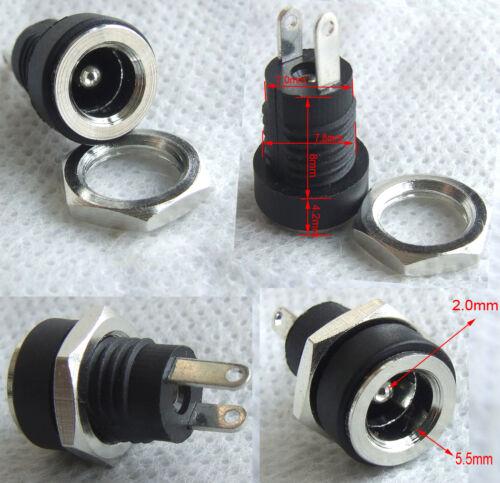 Screw nut 100PCS Copper 5.5mm 2.1mm DC Socket Power Charger Plug Panel Mount
