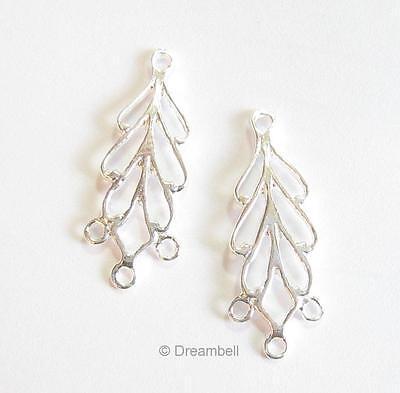 2x Sterling Silver Earring Heart Leaf Chandelier Connector 22.5mm se232w