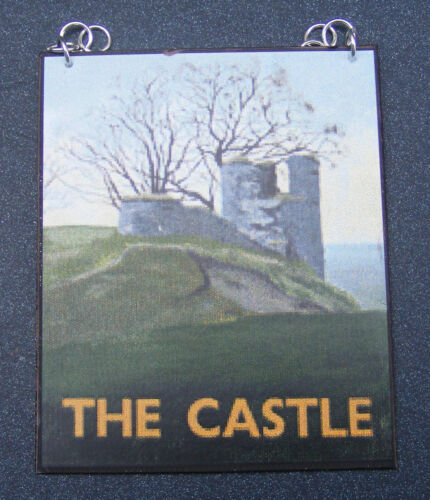 1:12 Scale The Castle Pub Sign Dolls House Miniature Bar Tavern  Inn Accessory