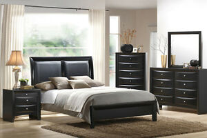 Details about MODERN BEDROOM SET 4 Pcs QUEEN BEDROOM FURNITURE BLACK  LEATHER HEADBOARD F9153
