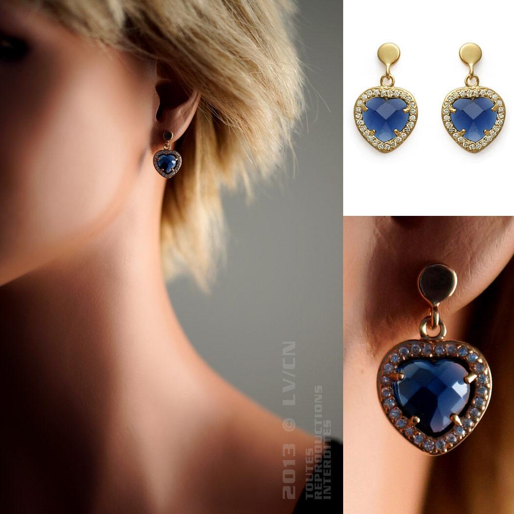 BOUCLES d'oreilles Coeur Plaque OR 18 carats et Oxydes Zirconium - Neuves
