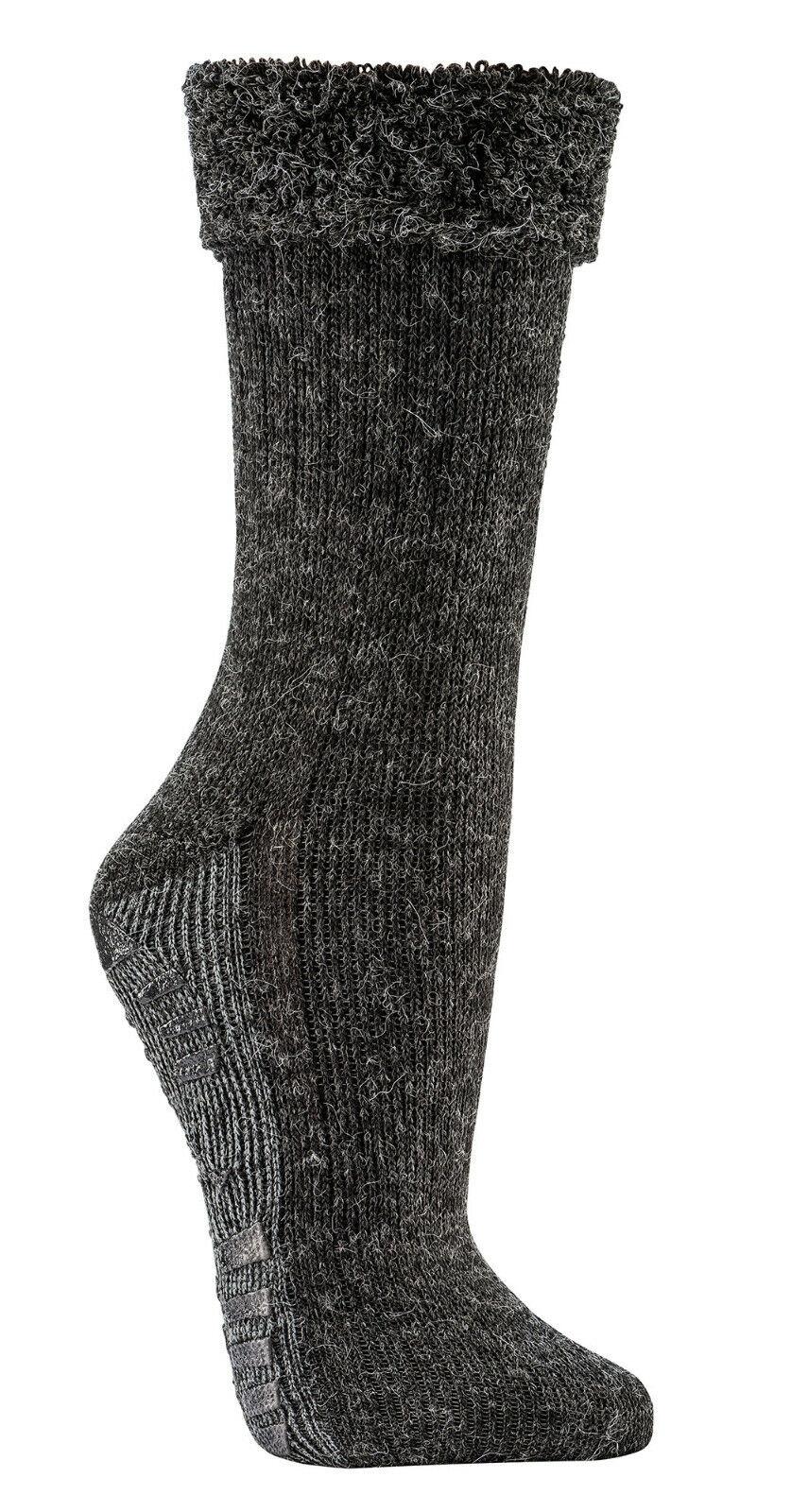 2 Paar ABS Socken mit Alpaka Wolle extra flauschig gefüttert Homesocks Bettsocke
