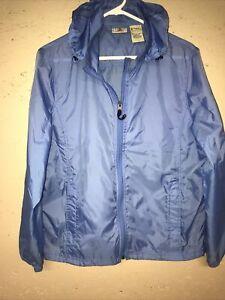 LL-Bean-Nylon-Hooded-Lt-Blue-Jacket-Womens-Large-Wind-Rain-Waterproof-Packable