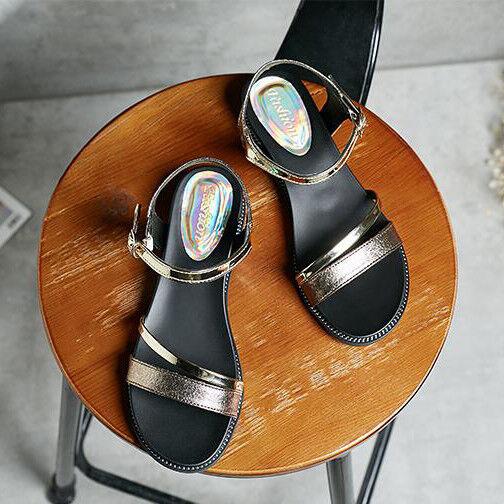 Sandali eleganti bassi  ciabatte  oro platform comodi simil pelle 1136
