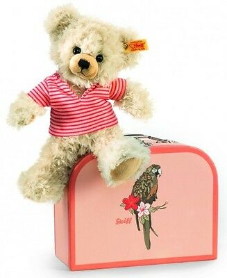 New Rare STEIFF TEDDY BEAR PIA + SUITCASE Parrot Design Ideal Gift 111341